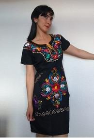 Vestido Mexicano Catrina Frida Kahlo Bordado Artesanal Boho