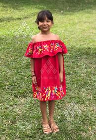 Vestido Mexicano De Niña Con Bordado Mexicano Otomí
