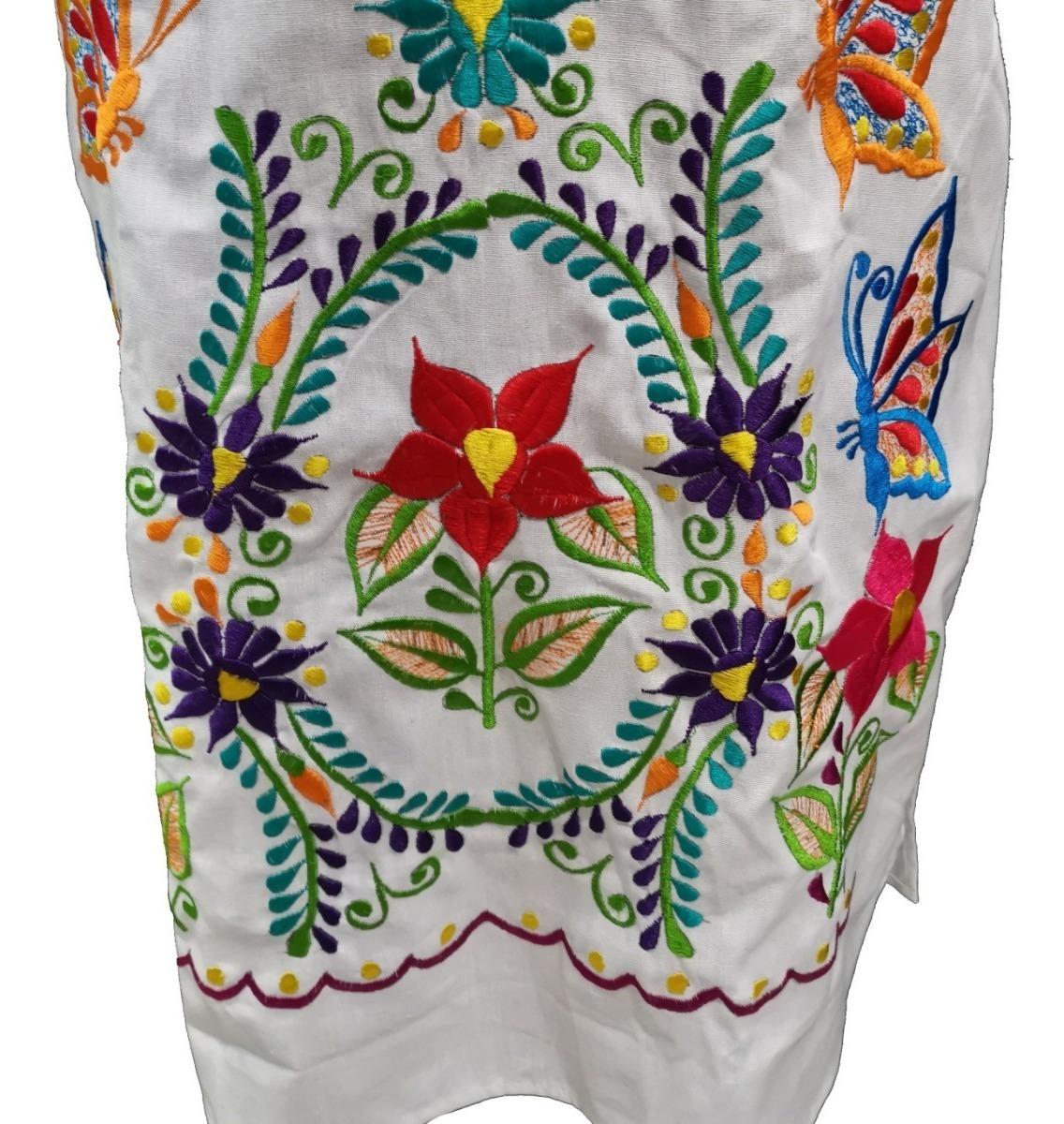 Vestido Mexicano Gala Artesanal Autentico Bordado