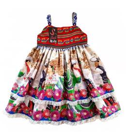 754ce850e Vestido Mexicano Infantil Doble Capa Cambaya Tejida Patria