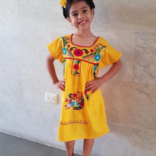 vestido mexicano infantil t10 bordado a mão original varal