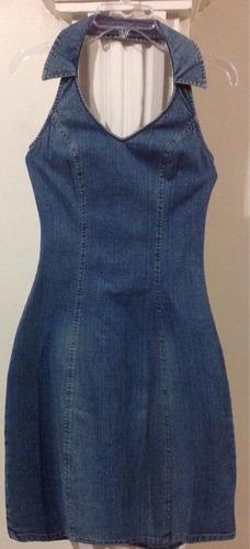 vestido mezclilla casual cuello halter retro vintage c223
