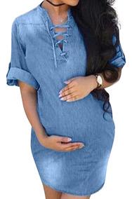 sitio de buena reputación Promoción de ventas 2020 Vestido Mezclilla Embarazadas Ropa Maternidad Falda Vaquera