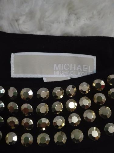 vestido michael kors negro detalle en dorado