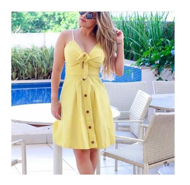13b5f1656 Vestido Mid Tecido Linho Com Bojo E Laço Moda Verão - R$ 54,90 em ...