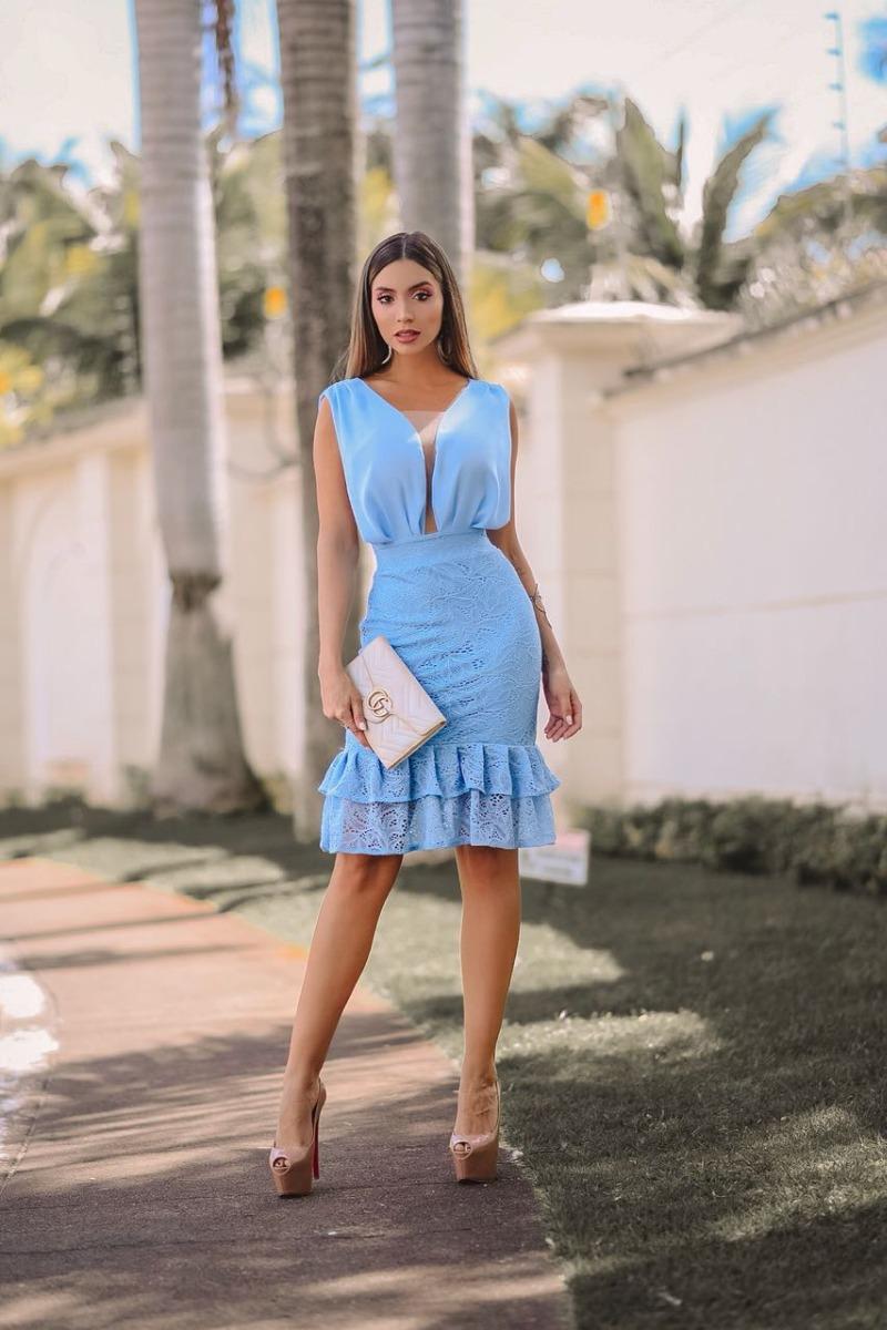 Vestido azul claro midi