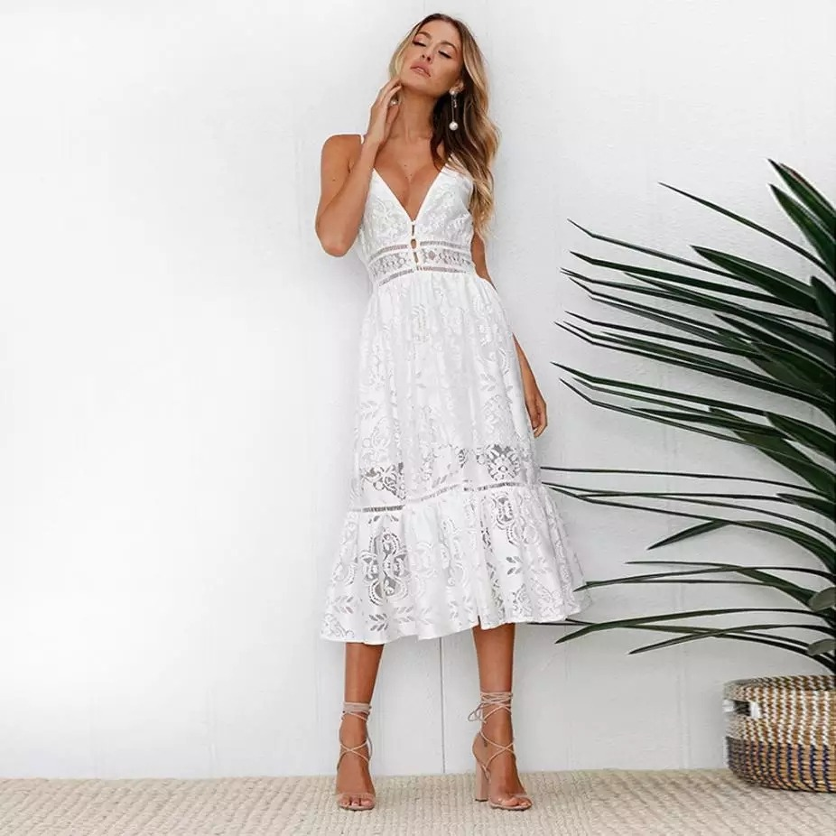 a1eff6422 vestido midi branco de verão. Carregando zoom.
