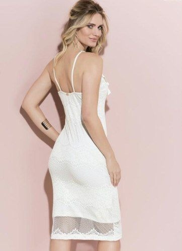 Vestido Midi Branco Festa Casamento Civil Renda Reveillon