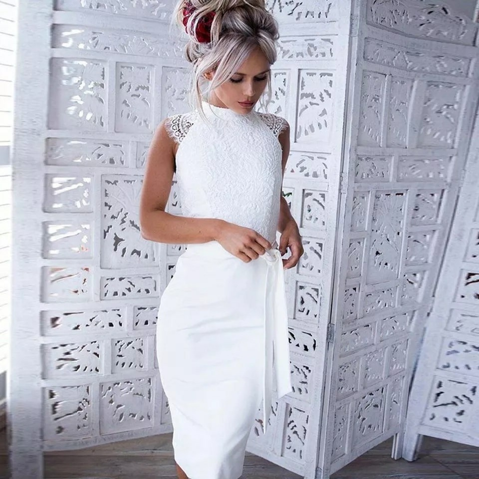 Vestido Midi Branco Renda Moda Feminina