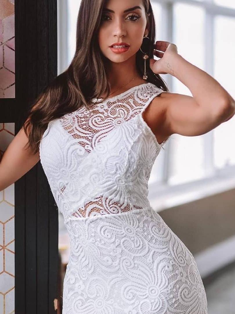 Vestido Midi Branco Renda Noivado Casamento Civil