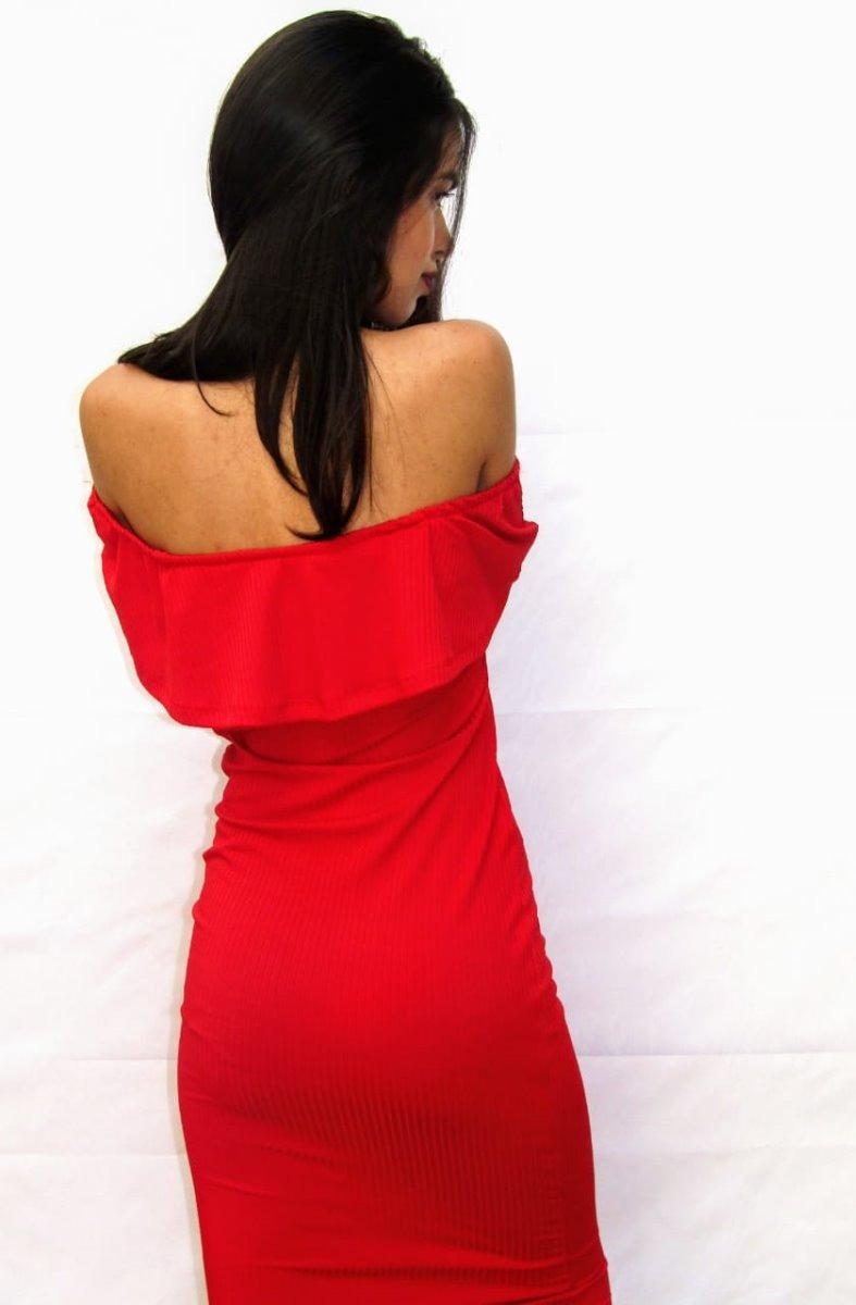 9bbe1885d vestido midi canelado com babado tubinho comprar online. Carregando zoom.