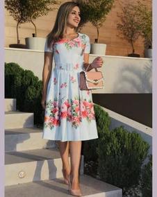 a09f6249d4245a Vestido Midi Com Pregas Azul Floral Com Cinto Moda Evangélic