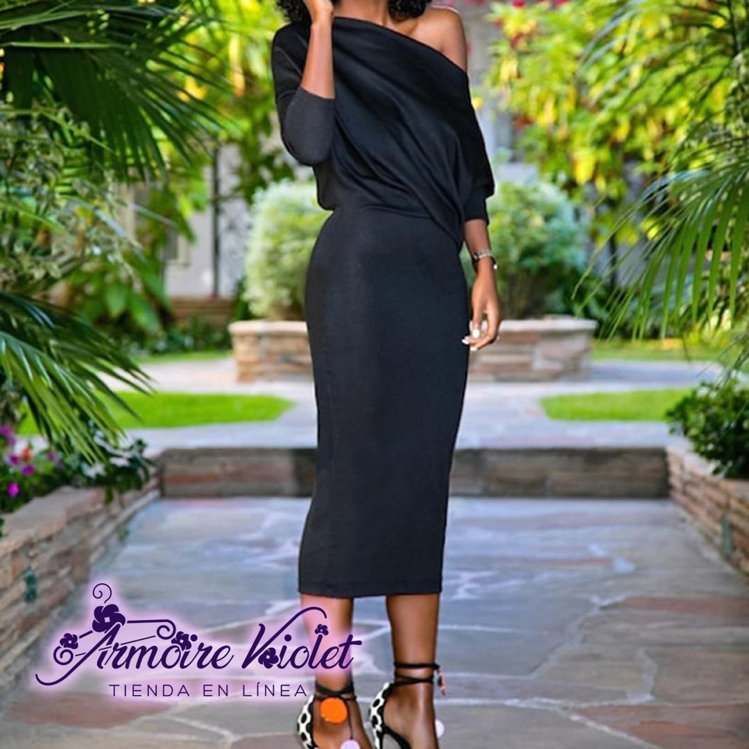 Vestido negro tubo midi
