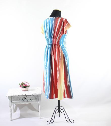 vestido midi  evangelico tie dye cintura elastex fresco moda