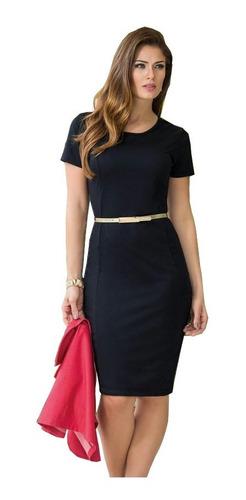 vestido midi evangelico tubinho midi justo madrinha preto