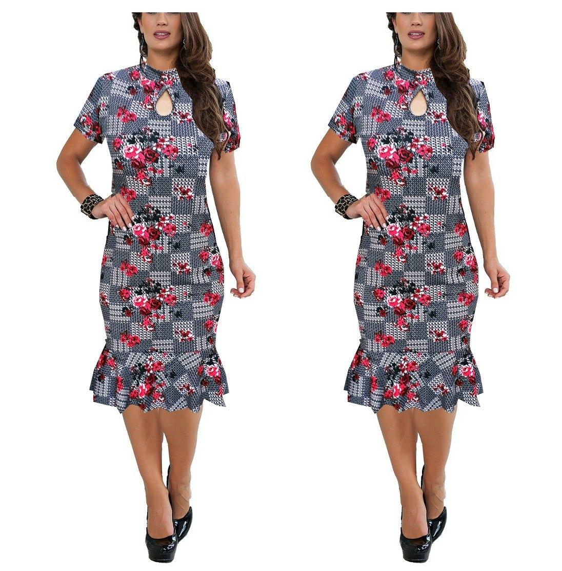56b1d9071d vestido midi feminino gota gola alta peplum moda evangélica. Carregando  zoom.