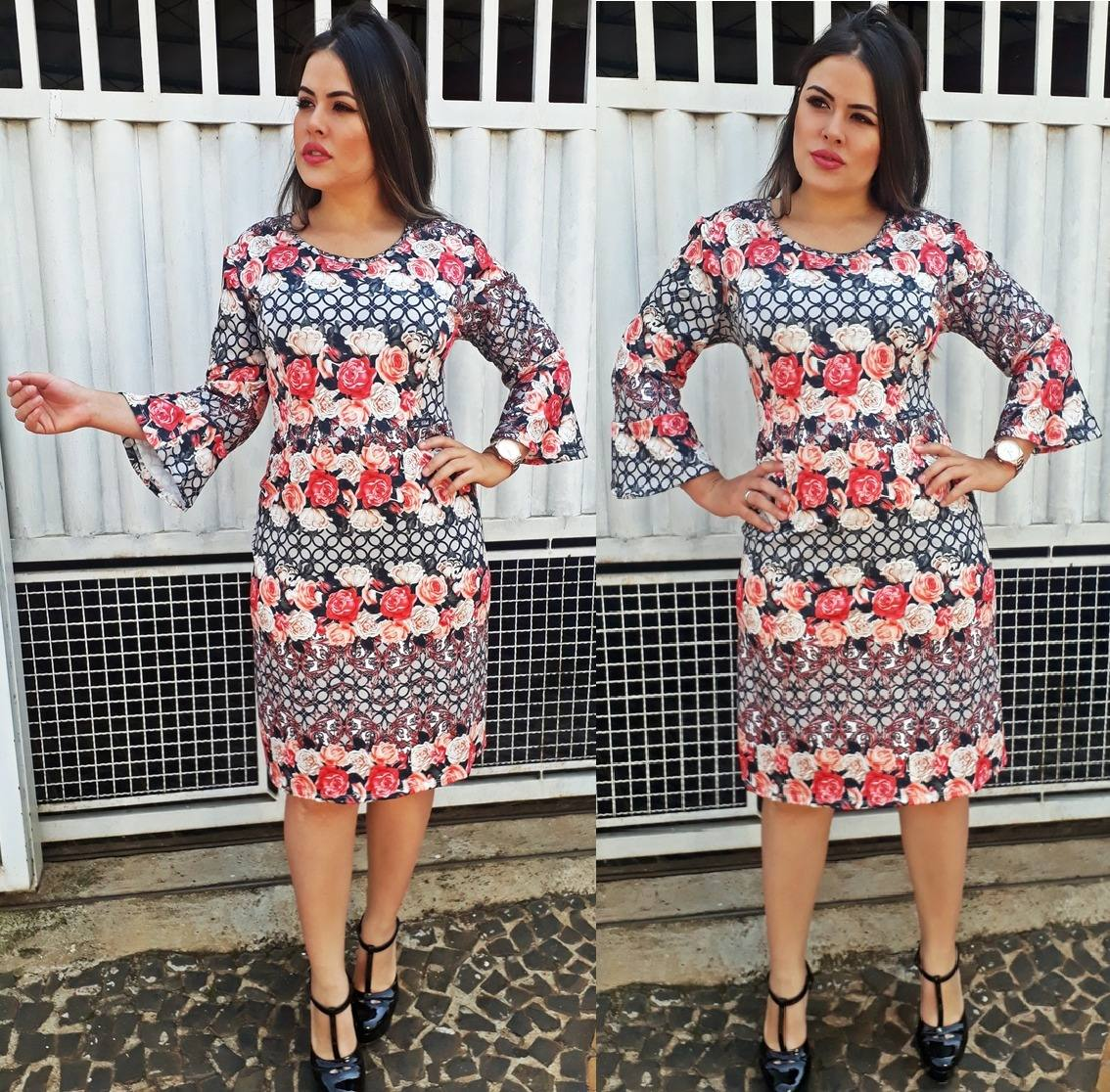 1d5637892ab1 vestido midi feminino manga flare tubinho moda evangélica. Carregando zoom.