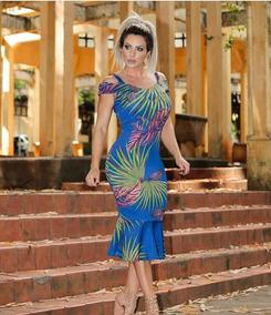 5a83ad0f53 Vestido Midi Floral Com Babado - Vestidos no Mercado Livre Brasil