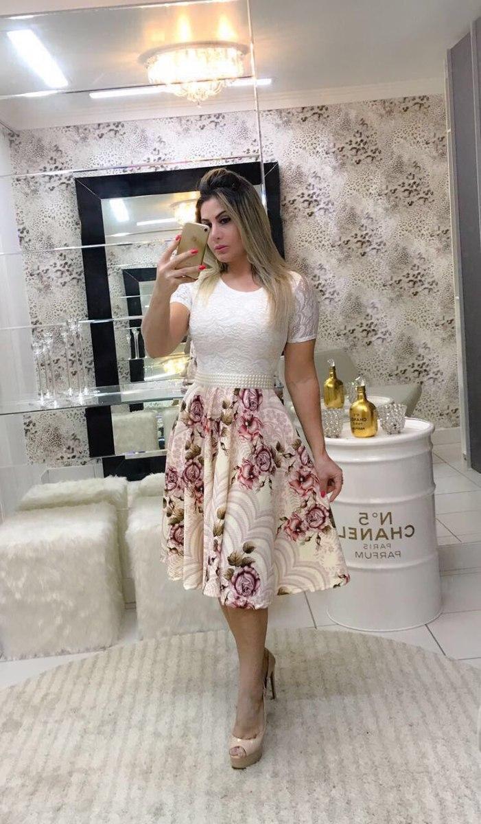 a8993a78c vestido midi godê brinde cinto de cetim floral romântico. Carregando zoom.