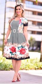 2be8639bf8db2d Vestido Midi Godê Com Cinto Estampado Floral Moda Evangélica