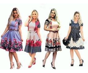 38a204cf21 Kit 2 Vestidos Feminino Midi Godê Estampas Cinto Evangelico