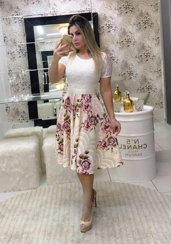vestido midi gode com cinto moda evangélica manga curta
