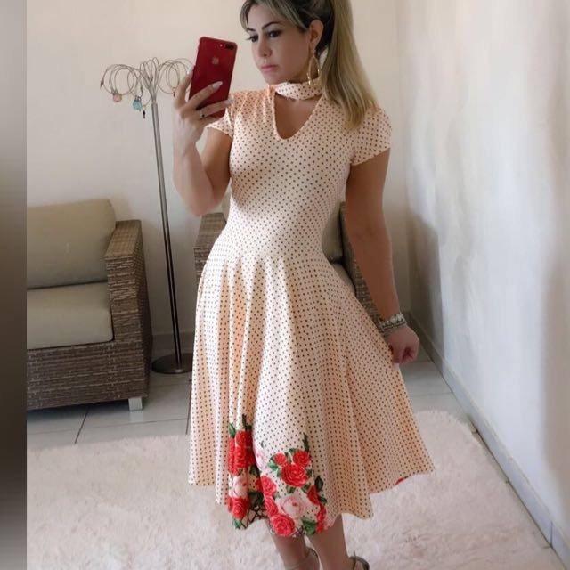 070a5738c Vestido Midi Gola Choker - R$ 179,00 em Mercado Livre