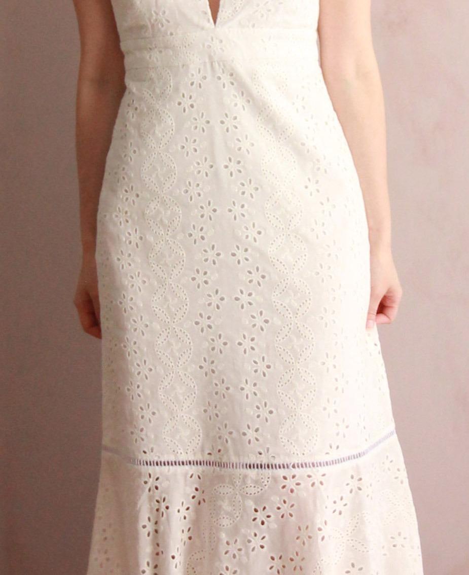 Vestido Midi Laise Branco Frente Unica