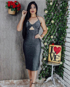 8930d4d89b6 Vestido De Lurex Prata - Calçados, Roupas e Bolsas com o Melhores Preços no  Mercado Livre Brasil