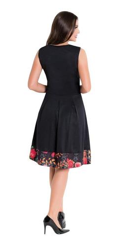 vestido midi moda evangélica convidada preto sem mangas