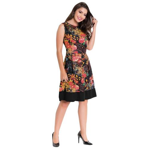 vestido midi moda evangélica florido blogueira sem mangas