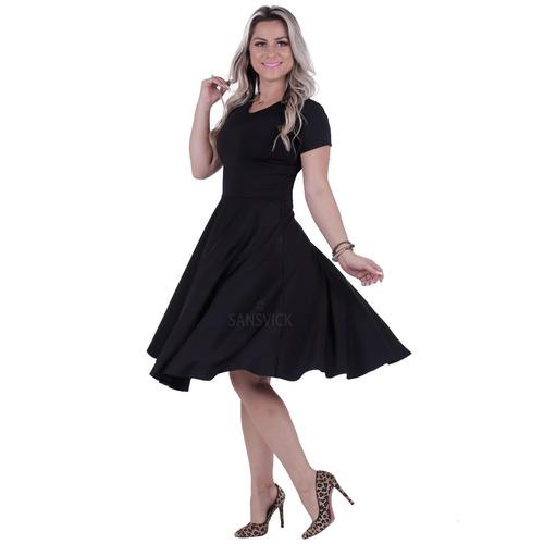 vestido midi moda evangélica rodado festa social casamento