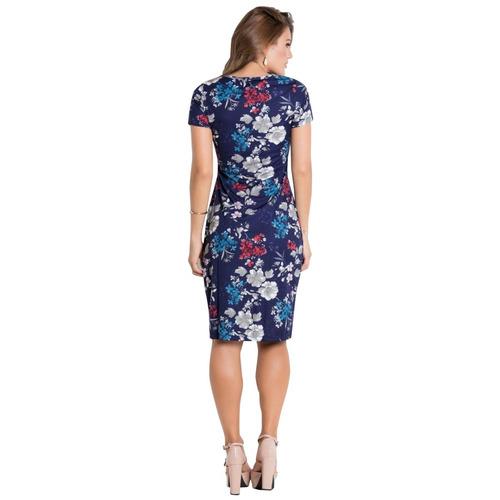 vestido midi moda evangélica tubinho blogueira justo florido