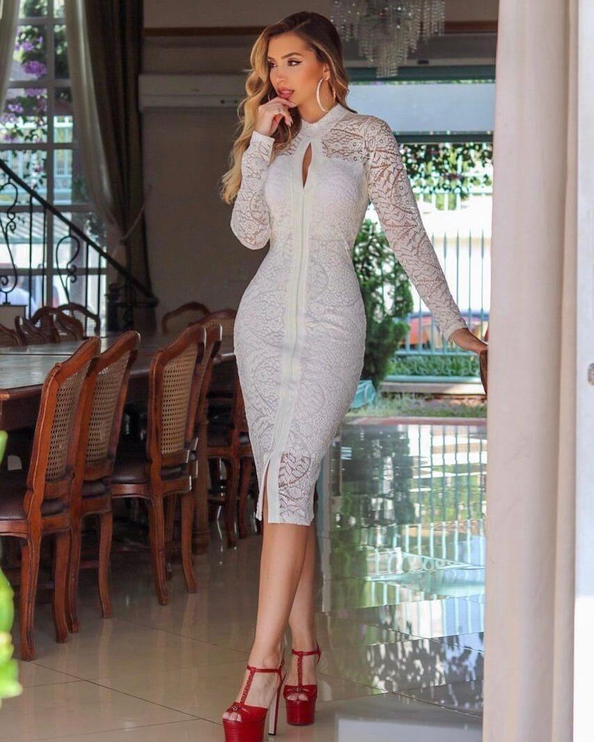 Vestido Midi Off White Branco Renda Manga Longa Casamento75