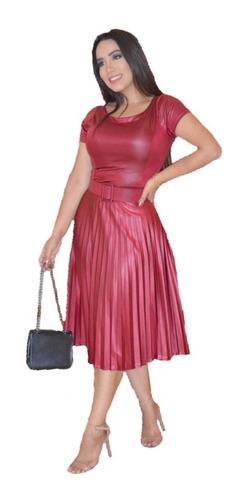 vestido midi plissado com cinto no cirrê moda evangélica