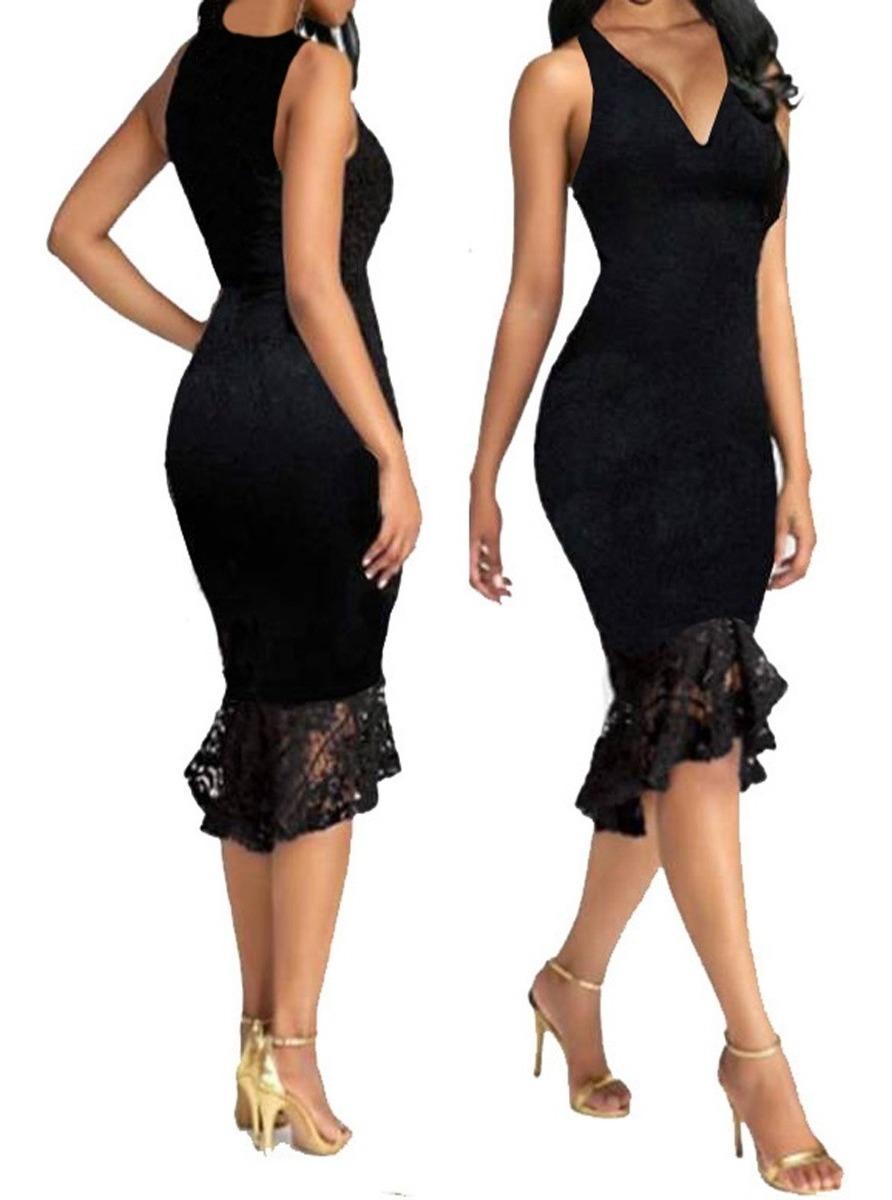 8ff32c27ac08 Vestido Midi Renda Elastano Babado Decote V Chique Vr206 - R$ 149,99 em  Mercado Livre