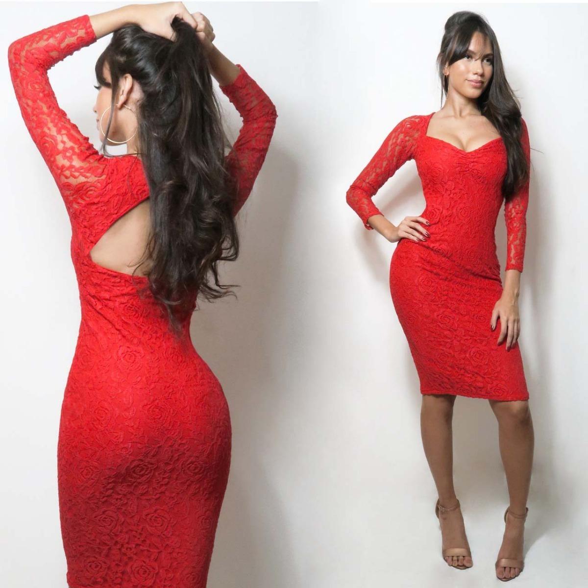 f9f8b2cdc vestido midi renda manga longa decote vermelho festa vrm56. Carregando zoom.
