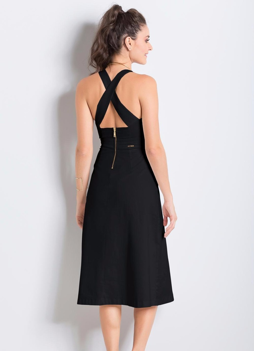 4bd59ae3ba vestido midi rodado colcci preto. Carregando zoom.