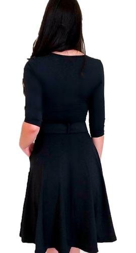 vestido midi rodado com cinto feminino moda evangélica