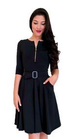 3b742c85af7ba9 Vestido Midi Rodado Com Cinto Feminino Moda Evangélica