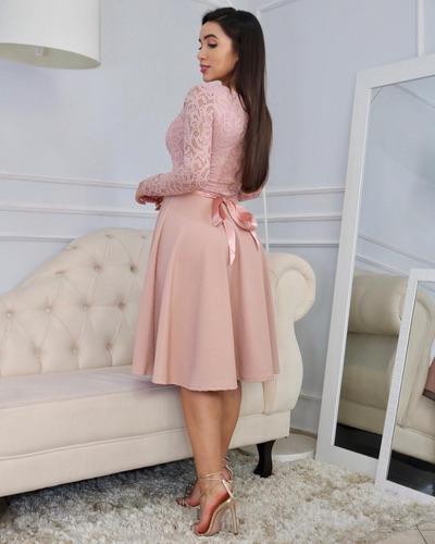 vestido midi rosê c/brinde moda evangélica