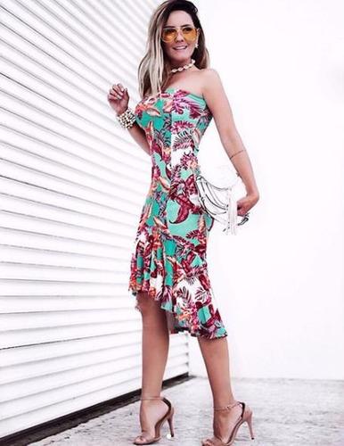 vestido midi tomara que caia com babado na saia primavera