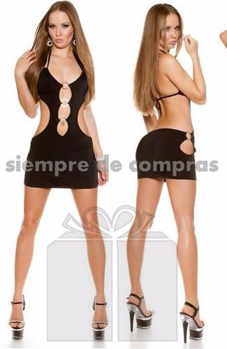 vestido mini con argollas metalicas sexy e impactante  197