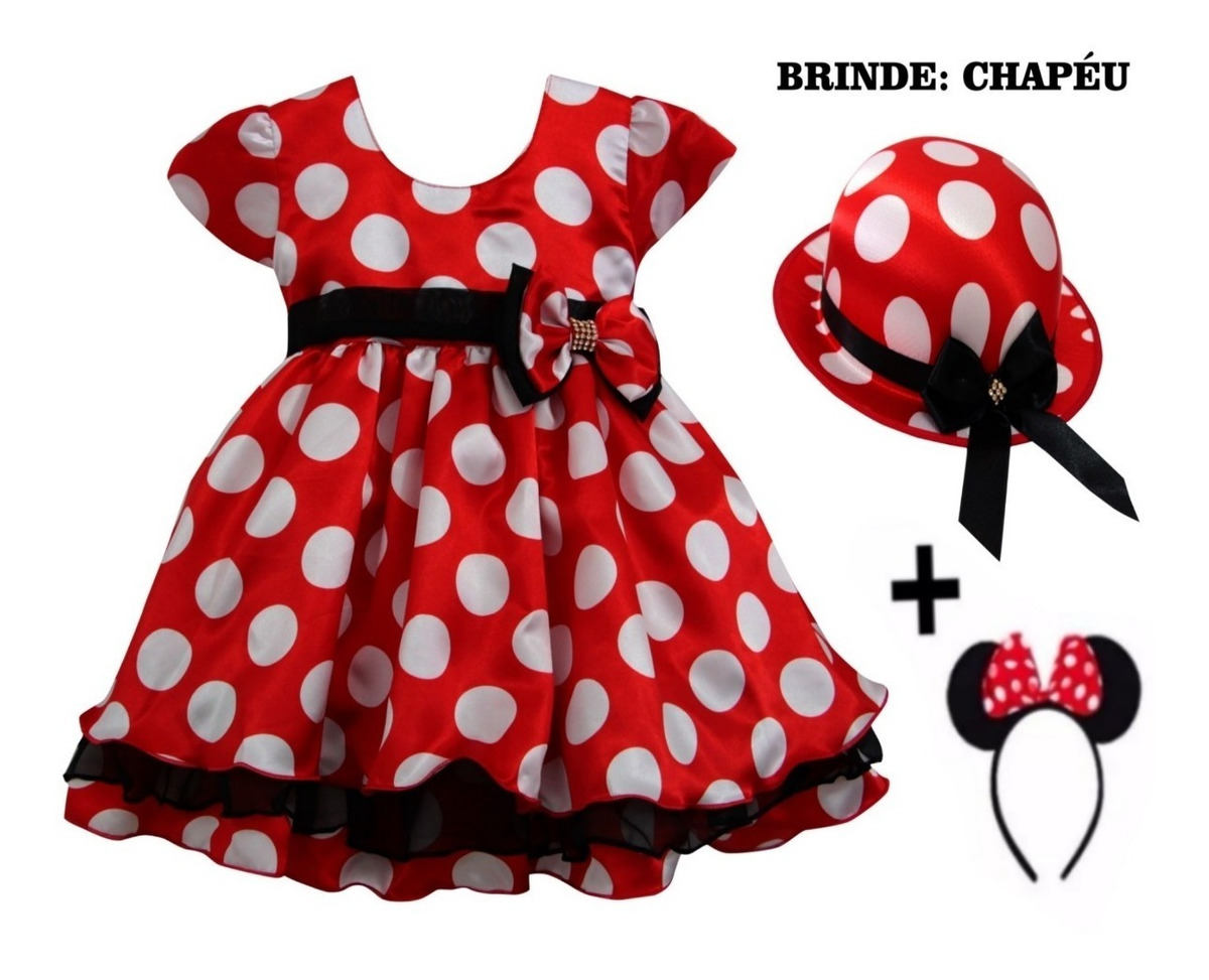 089b028e50 vestido minnie fantasia festa minie + tiara + brinde chapéu. Carregando zoom .