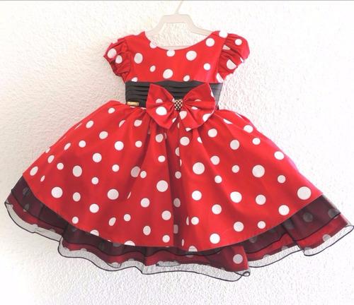vestido minnie festa infantil vermelho de bolinhas brancas