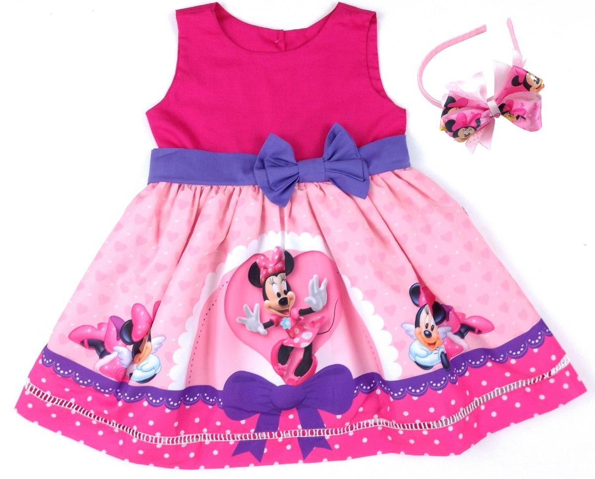 Vestido Minnie Rosa 100 Algodao Tiara 8 12 Anos R 162 00 Em