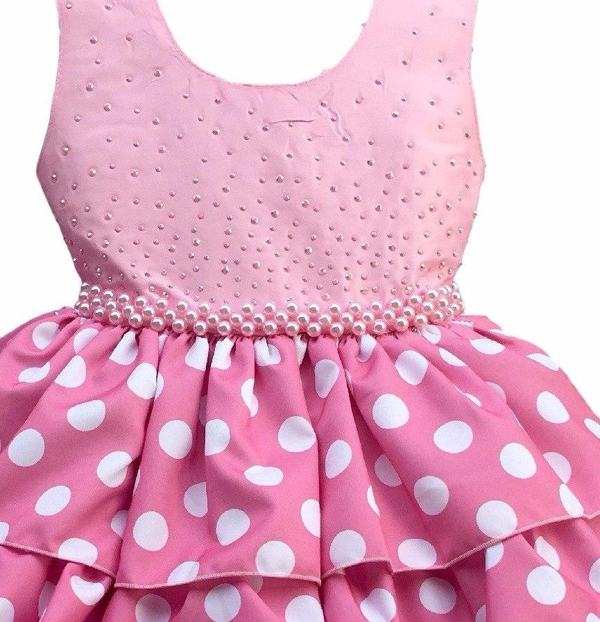 Vestido Minnie Rosa 4 Ao 12 Luxo Infantil Com Bolero E Tiara