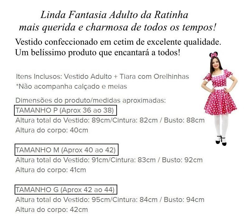 b58cec057b vestido minnie rosa com tiara adulto festa fantasia minie. Carregando zoom.