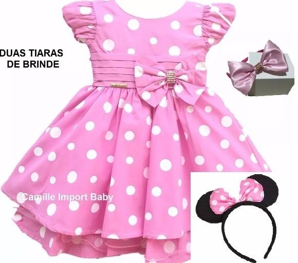 Vestido Minnie Rosa Festa Infantil E Tiara De Orelhinha