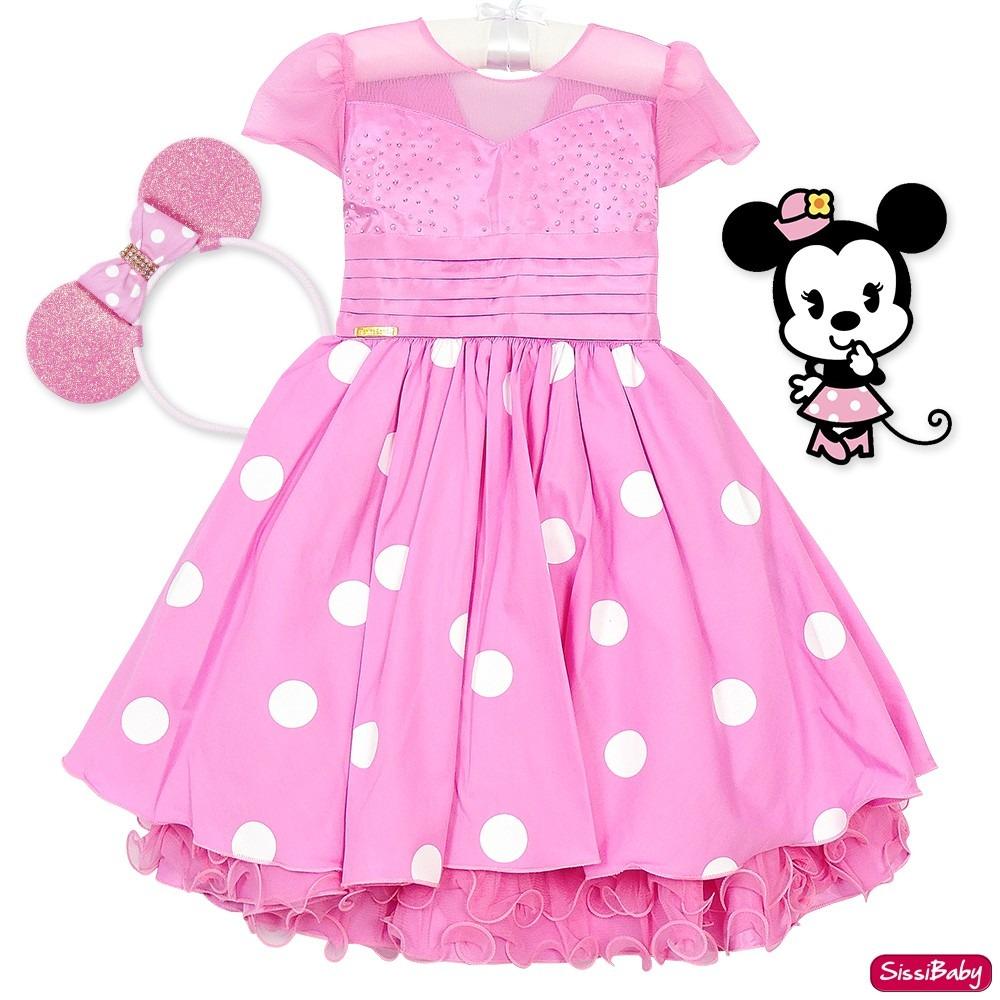 761e22bea4 vestido minnie rosa festa infantil luxo 4 ao 8 e tiara. Carregando zoom.